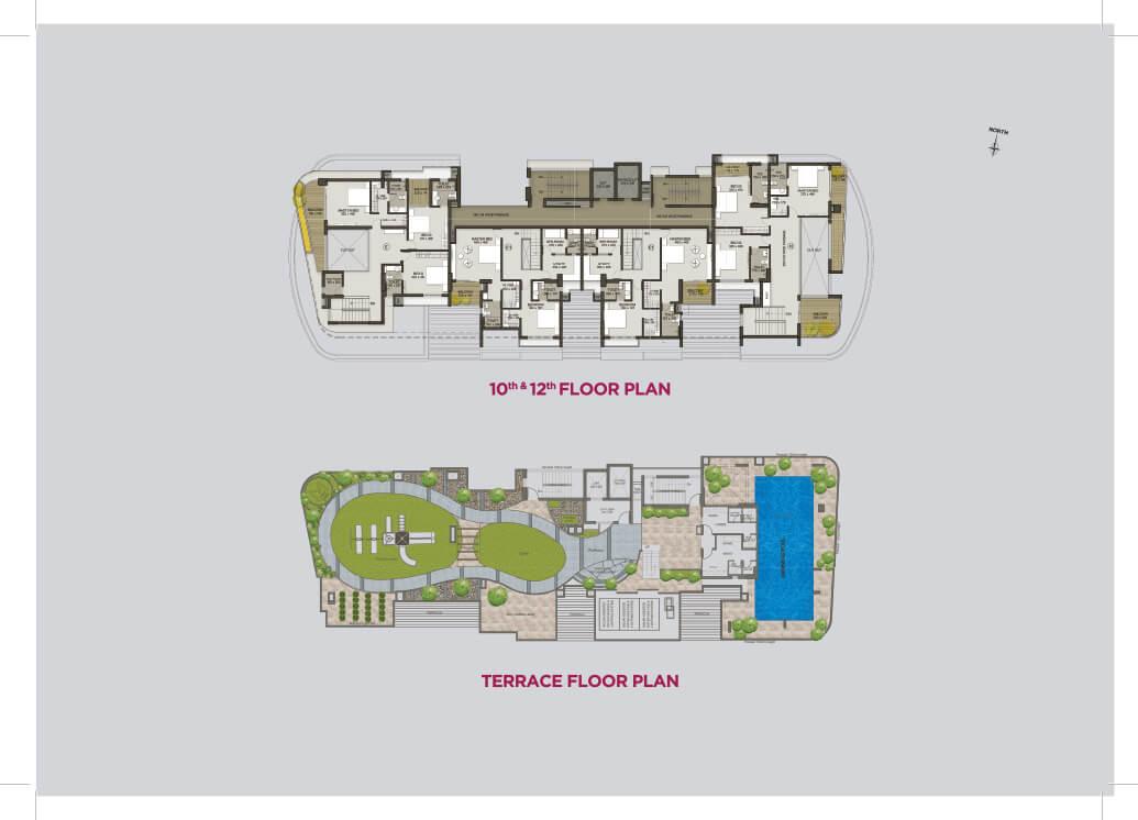 10th-12th Floor Plan, Terrace Floor Plan