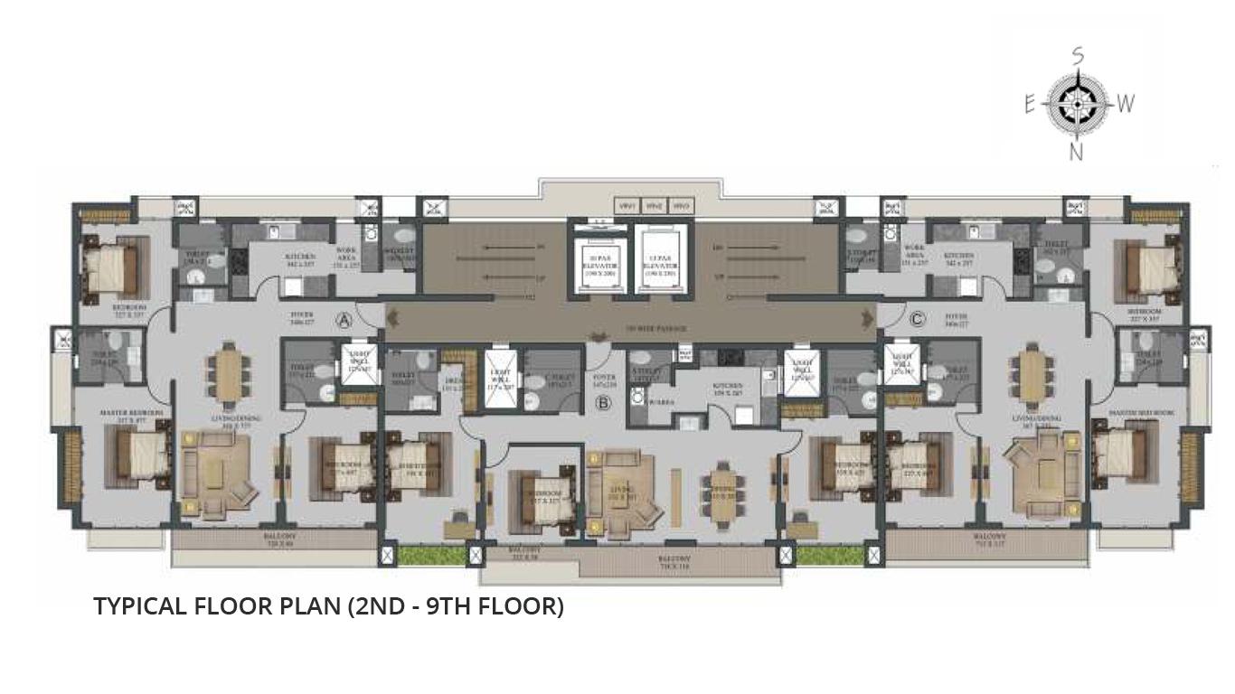 Typical Floor Plan (2nd - 9th Floor)