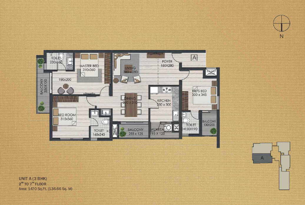 Unit A 3BHK (2nd to 7th)