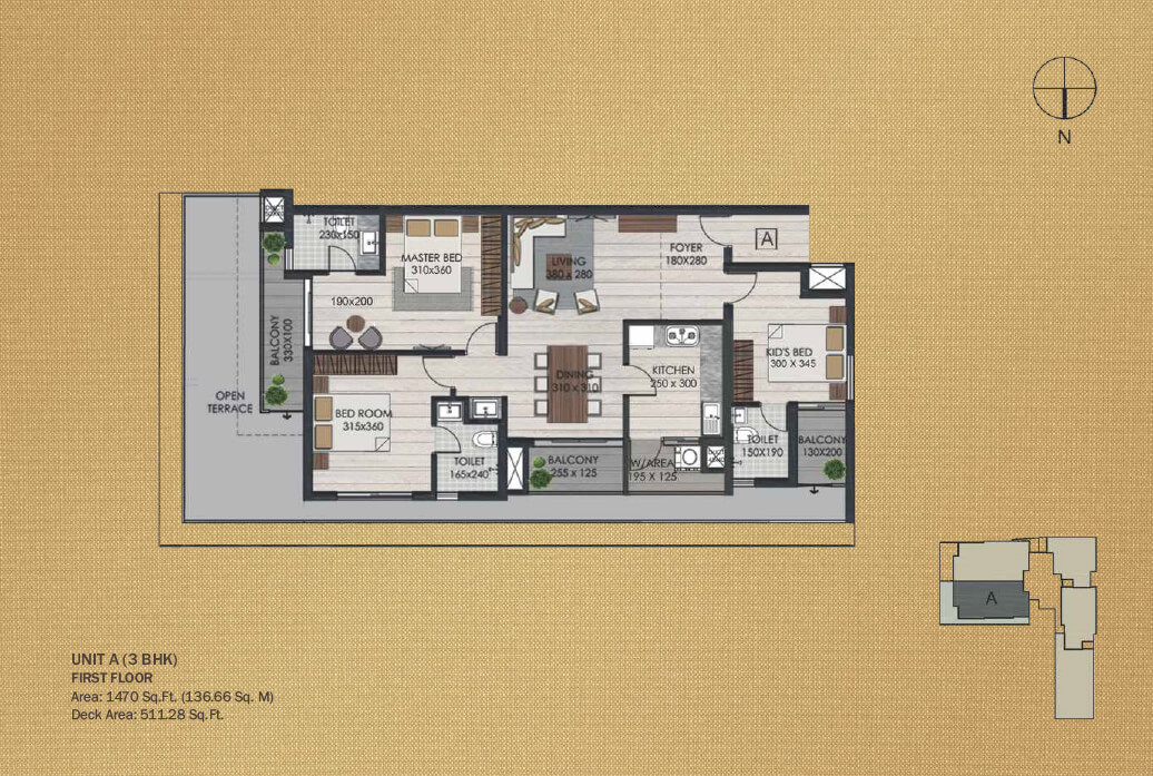 Unit A 3BHK First Floor