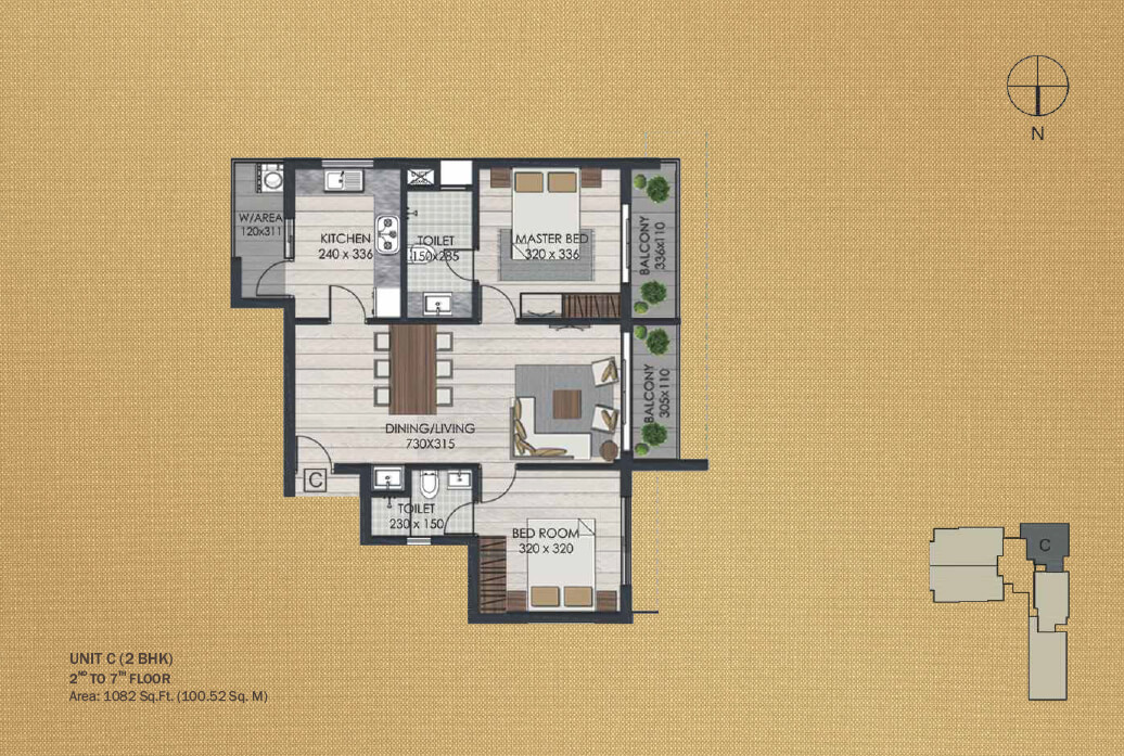 Unit C 2BHK (2nd to 7th)