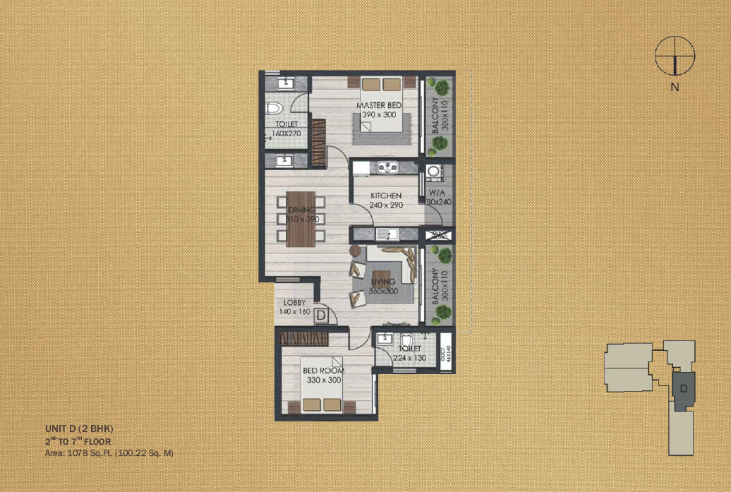 Unit D 2BHK (2nd to 7th)
