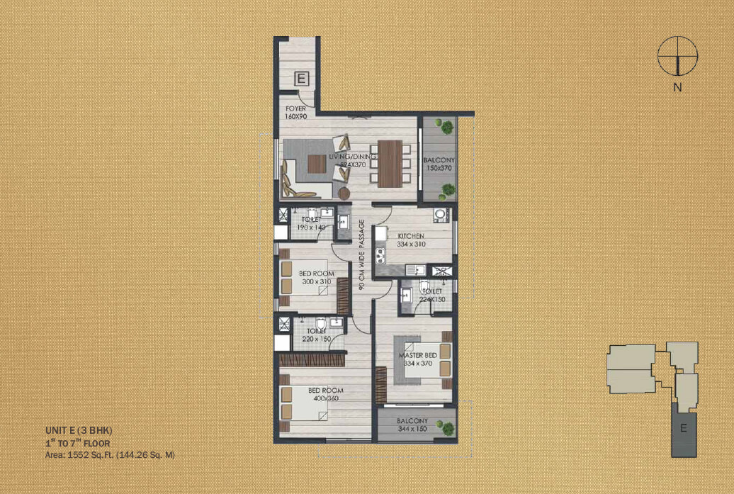 Unit E 3BHK (1st to 7th)