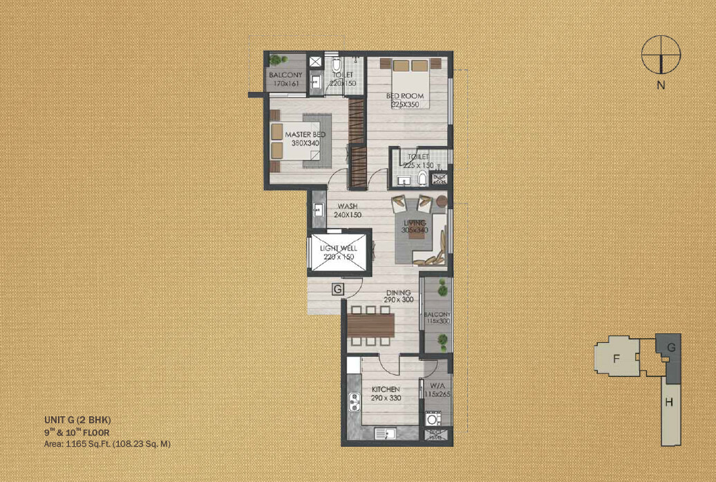 Unit G 2BHK (9th and 10th)