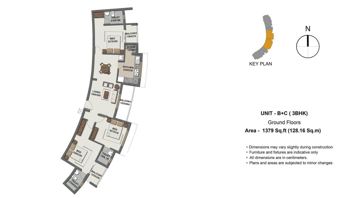 unit B+C 3bed ground floor