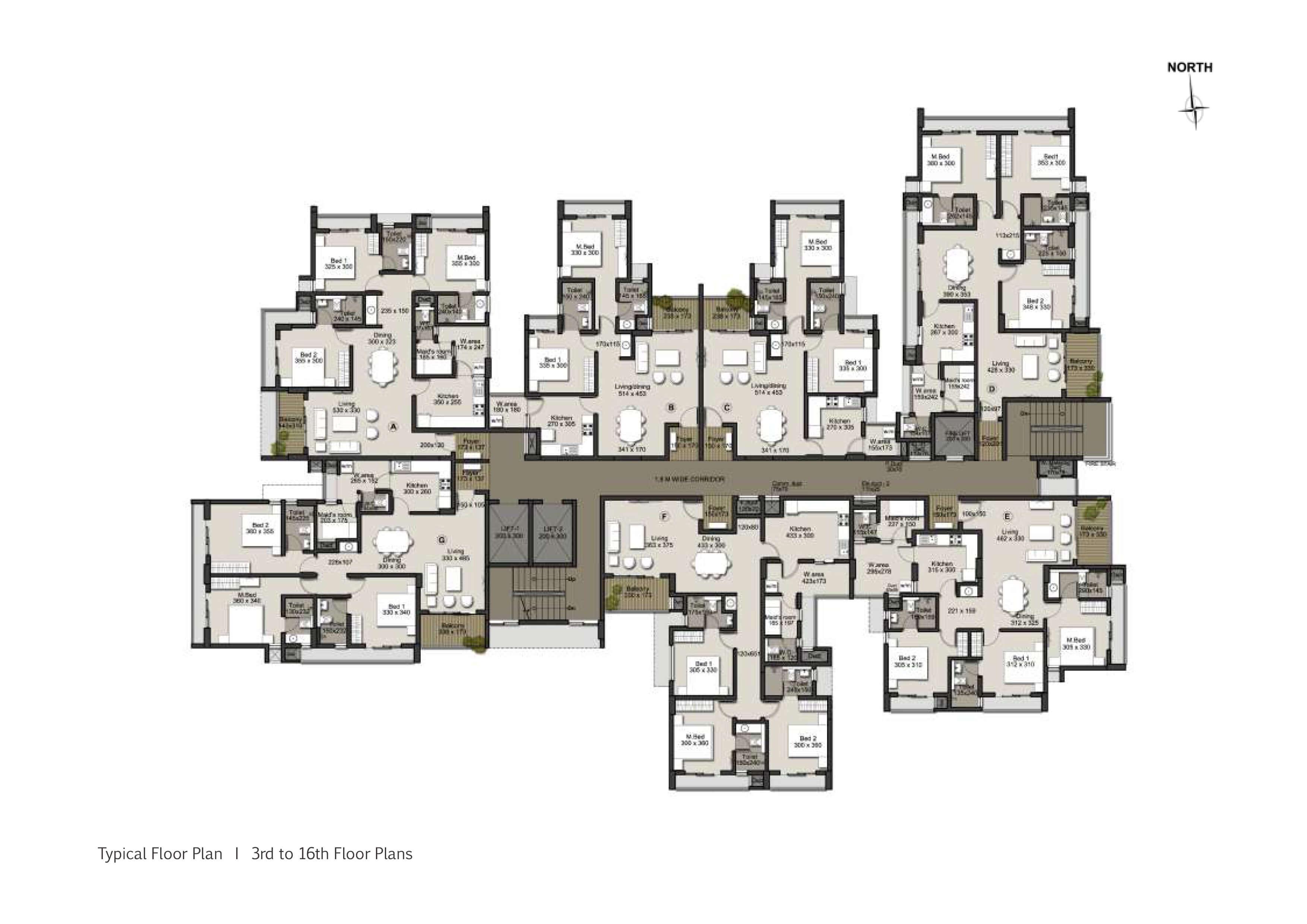 Typical 3 - 6 Floor Plan